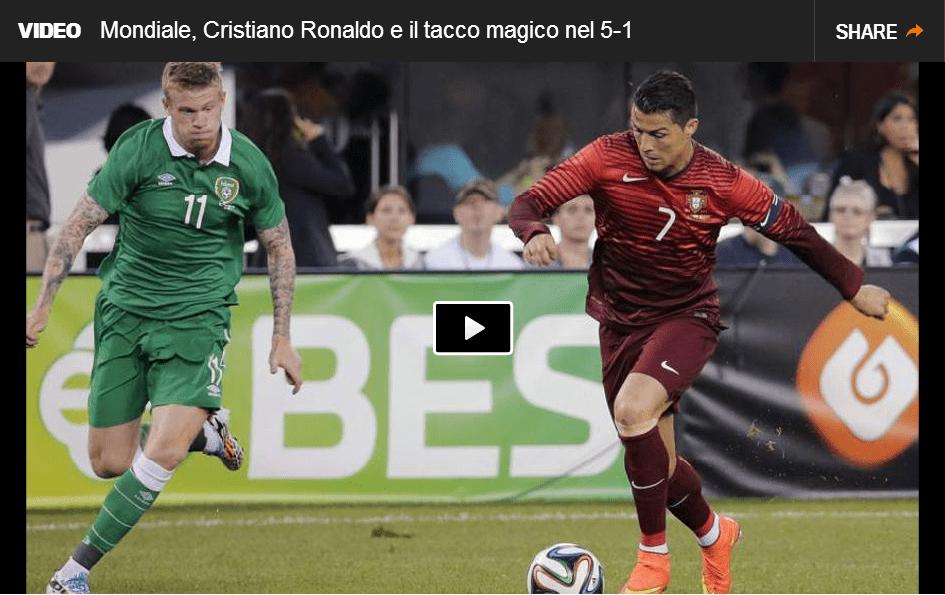Video Cristiano Ronaldo meraviglioso assist di tacco