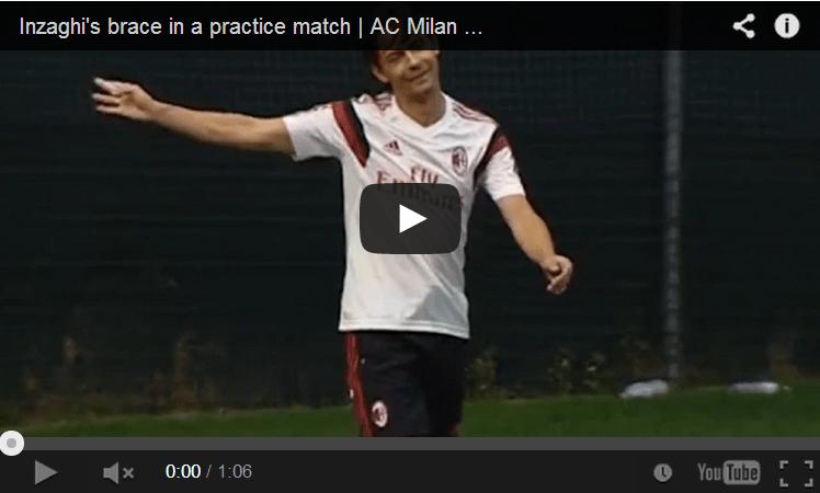 Video, Inzaghi segna una doppietta in allenamento