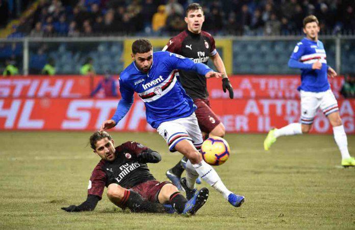 Sampdoria Milan cronaca diretta live