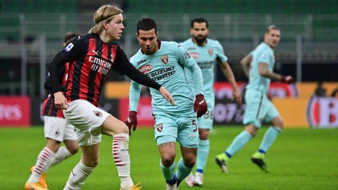 Fase di gioco Milan-Torino, anticipo 17esima giornata sabato sera