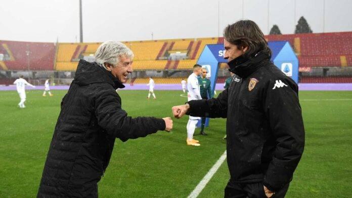 Gasperini e Inzaghi prima della vittoriosa trasferta dell'Atalanta a Benevento