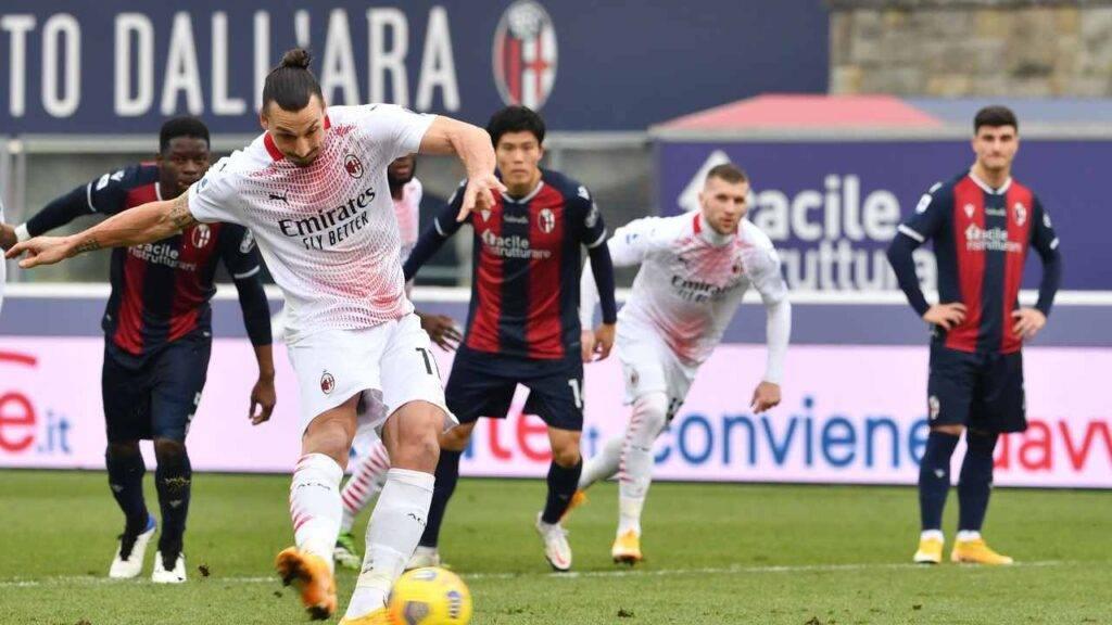 Zlatan Ibrahimovic sbaglia il quinto rigore a Bologna
