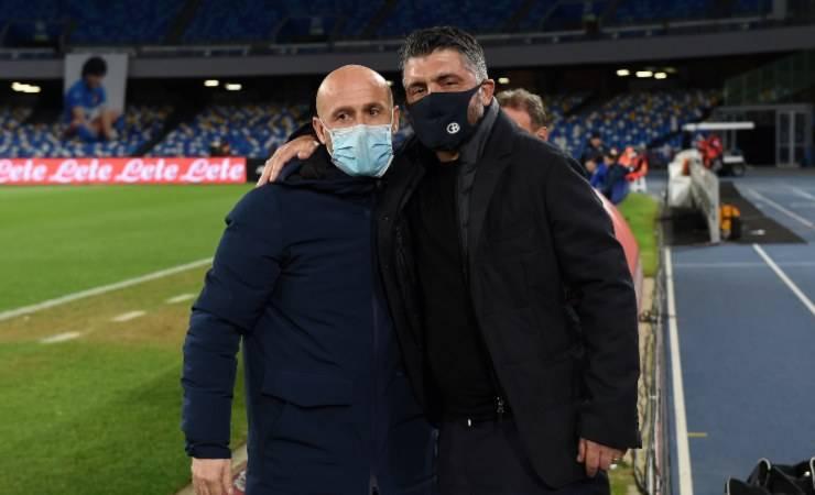 Napoli - Spezia, Italiano e Gattuso allo stadio Maradona