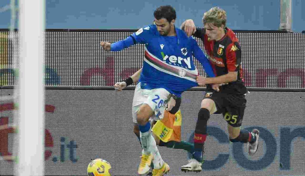 Nicolò Rovella in azione nel derby di coppa contra la Sampdoria