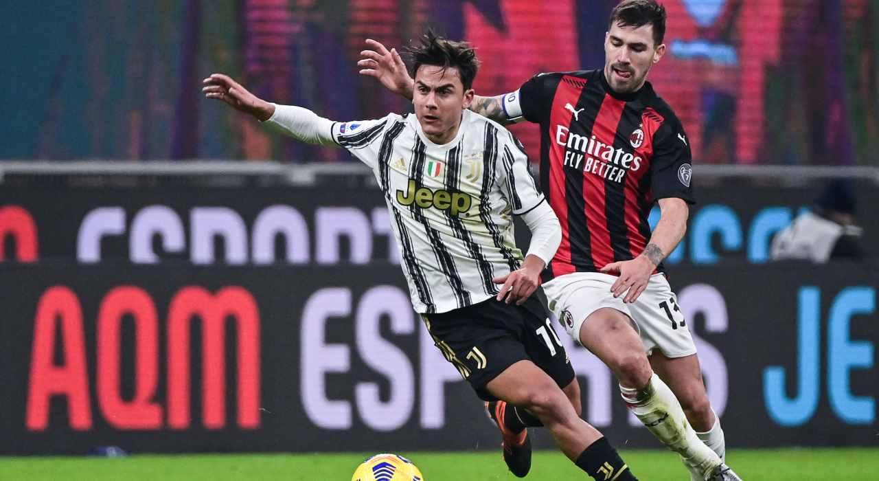 Dybala in azione contro il Milan