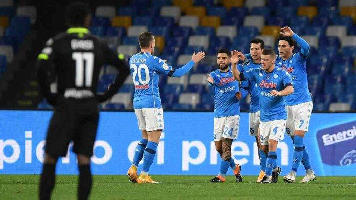Napoli - Spezia, l'esultanza dei calciatori azzurri