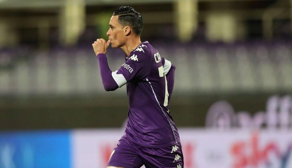 Callejon esulta dopo l'unico gol stagionale con la Fiorentina in Coppa Italia