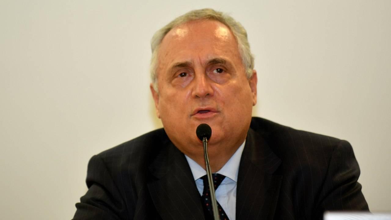 Claudio Lotito in conferenza