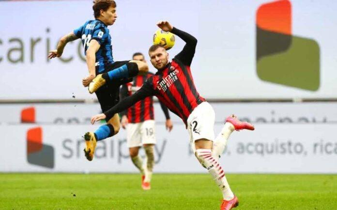 Rebic e Barella si scontrano in Milan Inter