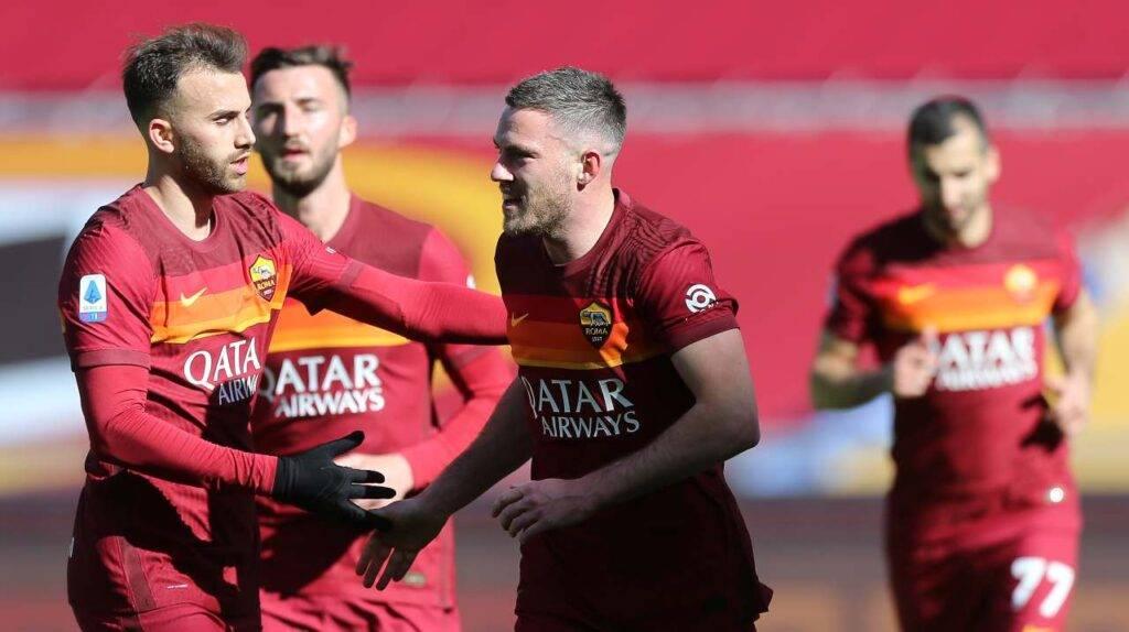 L'esultanza di Jordan Veretout durante Roma-Udinese