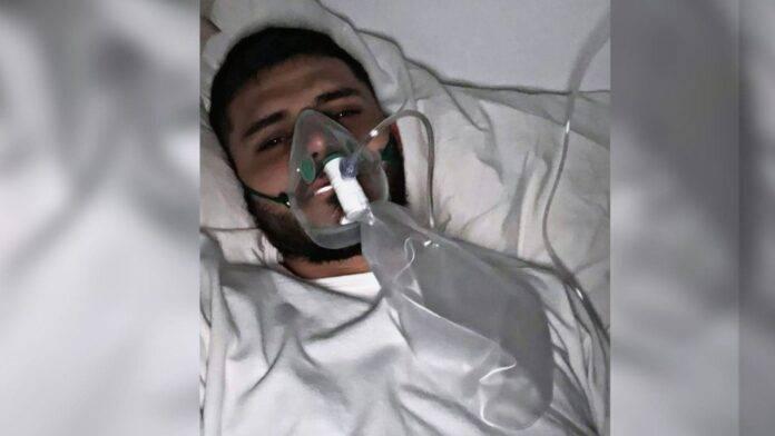 Icardi con mascherina per l'ossigeno