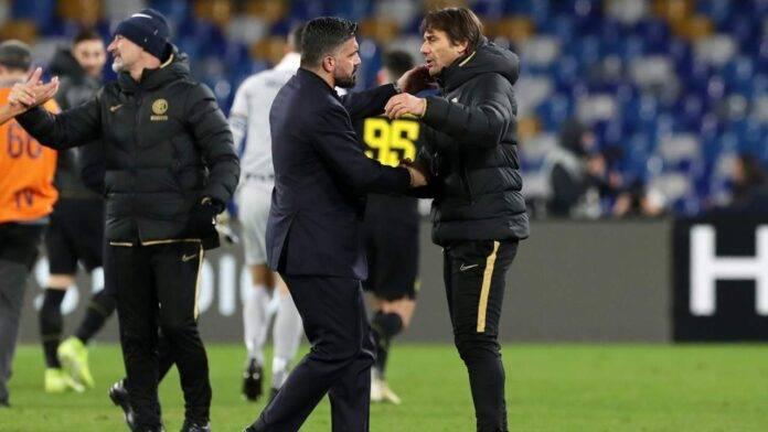 Antonio Conte e Rino Gattuso si abbracciano