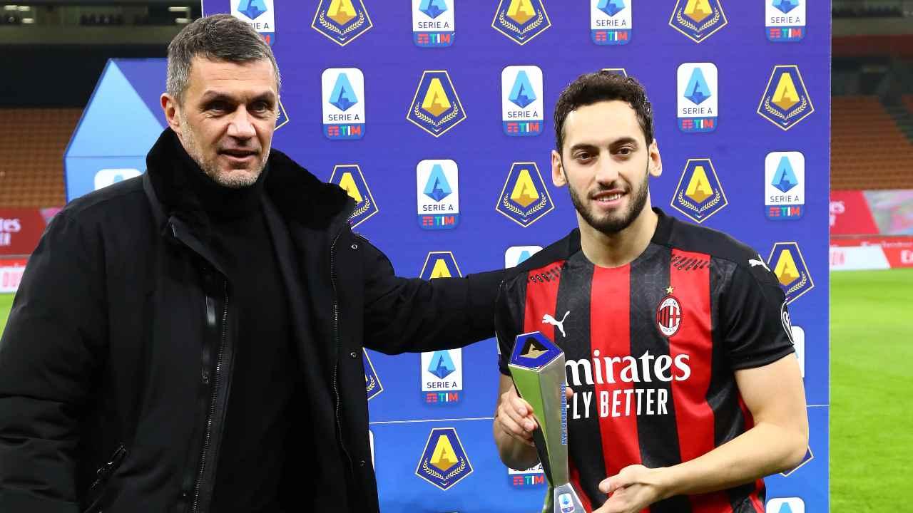 Paolo Maldini e Hakan Calhanoglu