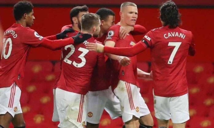 Esultanza di gruppo Manchester United