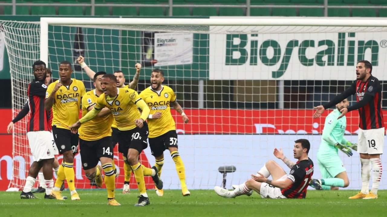 Esultanza Udinese a San Siro