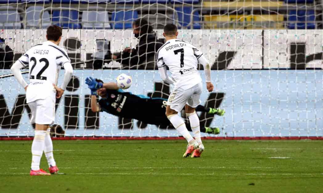 Ronaldo batte Cragno in Cagliari-Juventus
