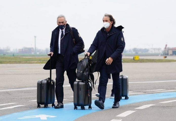 Gravina e Mancini con l'Italia