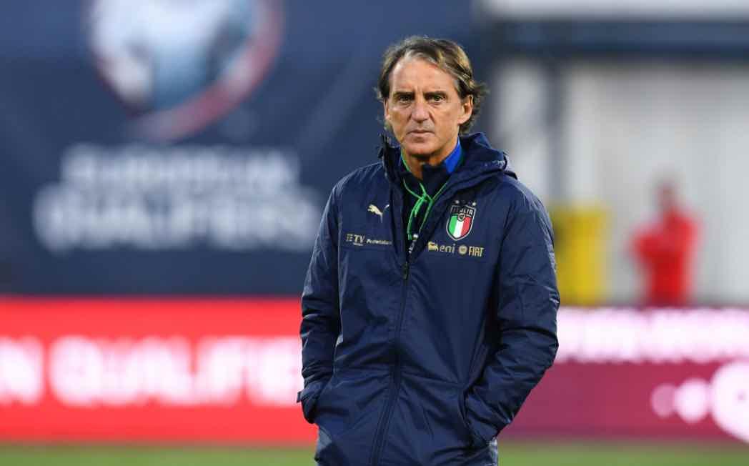 Roberto Mancini ct dell'Italia in campo