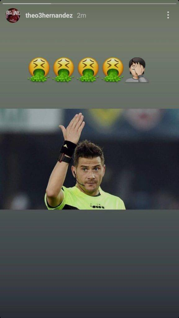 Theo Hernandez storia Instagram