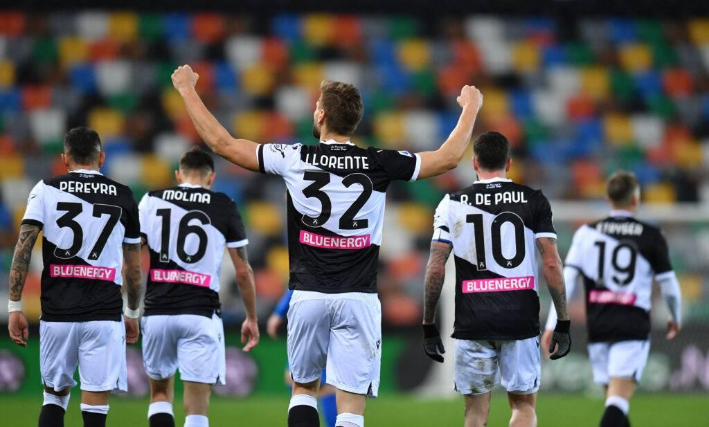 L'esultanza di Fernando Llorente in Udinese-Sassuolo