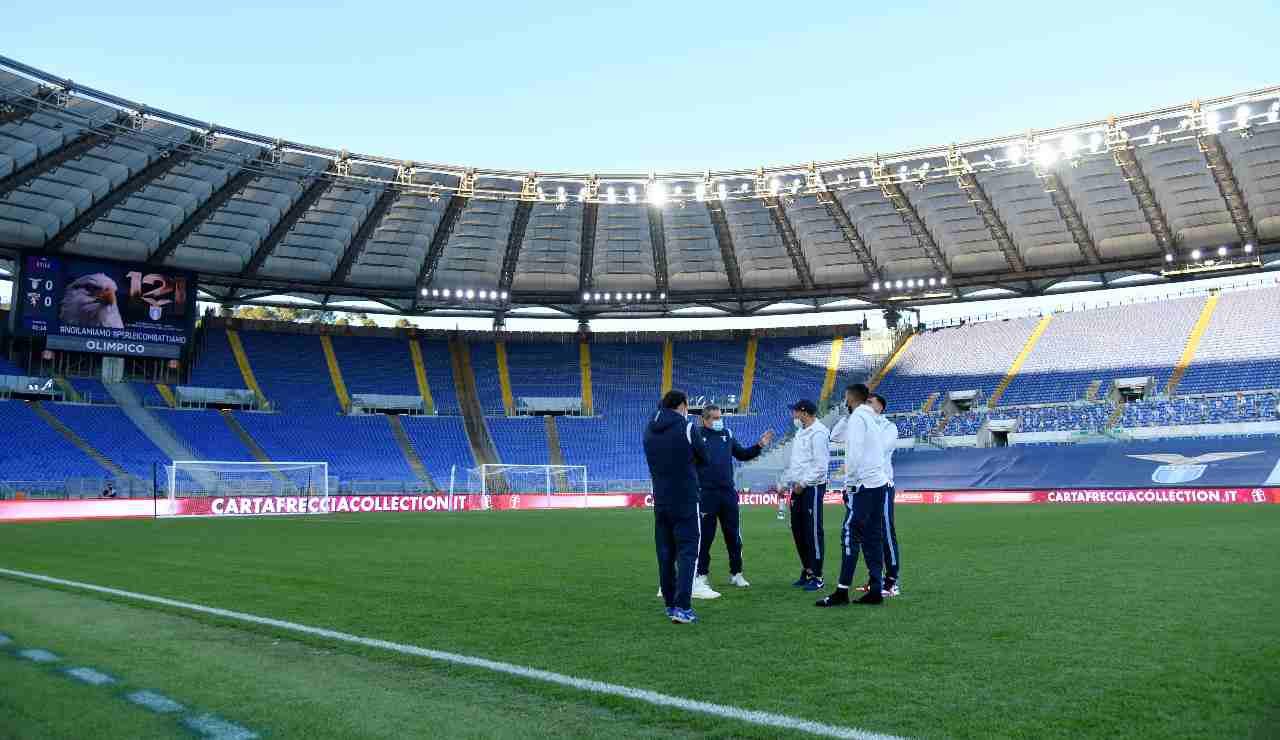 calciatori della Lazio all'Olimpico