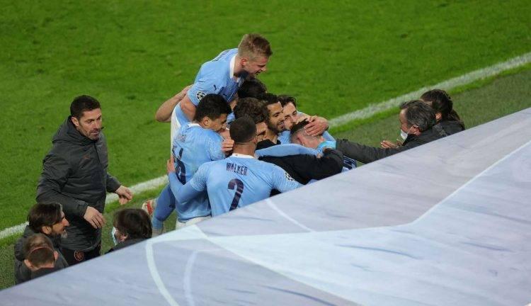 L'esultanza del Manchester City