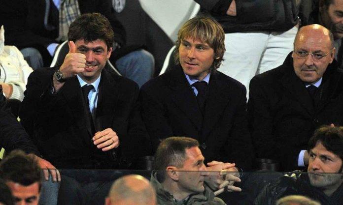 Marotta allo stadio con Agnelli e Nedved