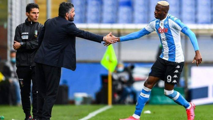 Gattuso dà il cinque ad Osimhen