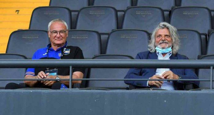 Sampdoria, Ferrero e Ranieri in tribuna allo stadio