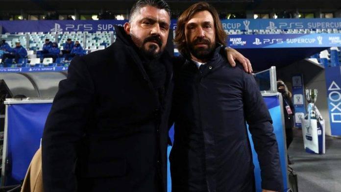 Pirlo e Gattuso si abbracciano