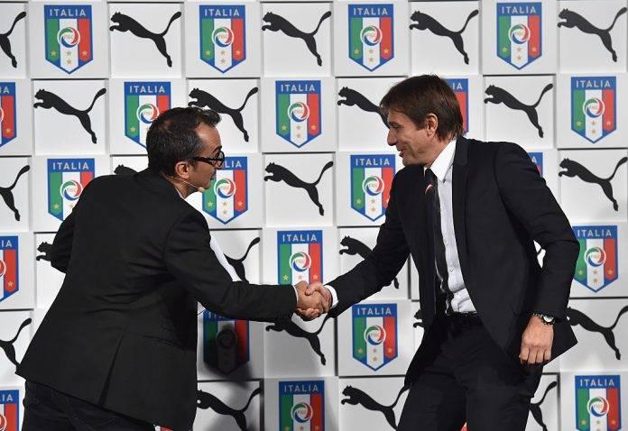 Conte e Savino nel giorno della presentazione della maglia Puma per l'Italia