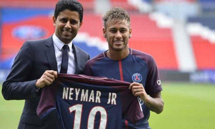 Neymar e Al-Khelaifi nel giorno della presentazione del brasiliano al PSG