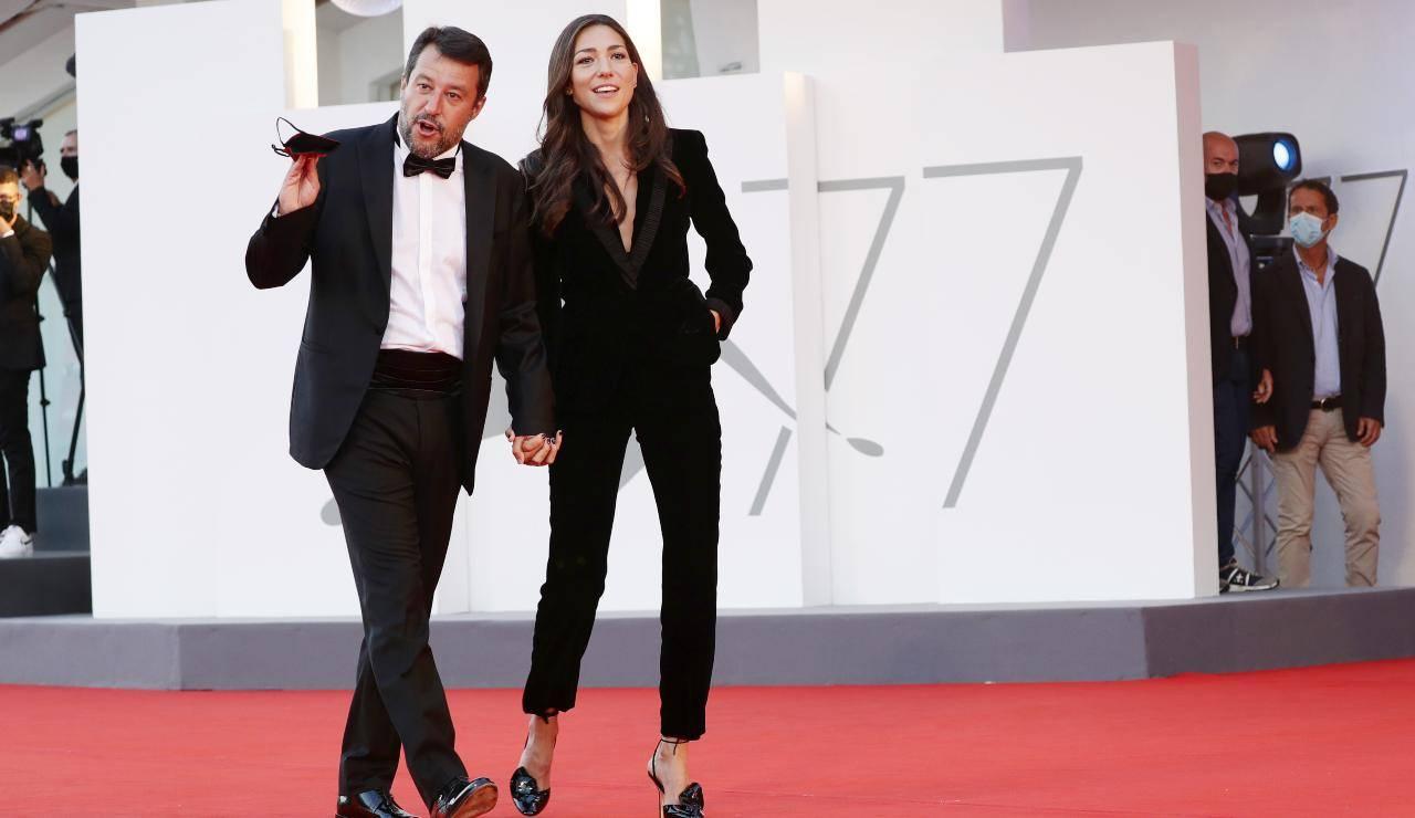 Matteo Salvini e Francesca Verdini alla 77esima mostra del cinema di Venezia (GettyImages)