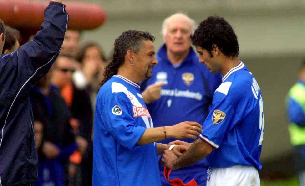 Baggio e Guardiola con la maglia del Brescia