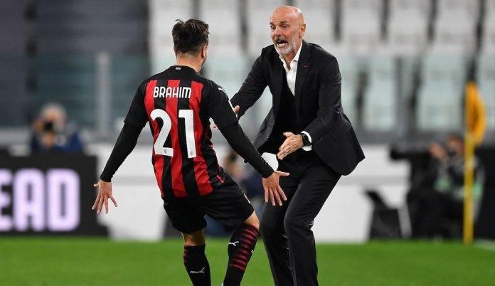 Brahim Diaz abbraccia Pioli dopo il gol