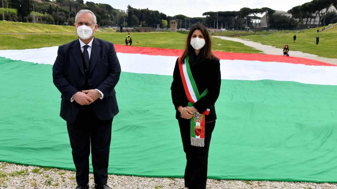 Claudio Lotito e Virginia Raggi in un evento istituzionale