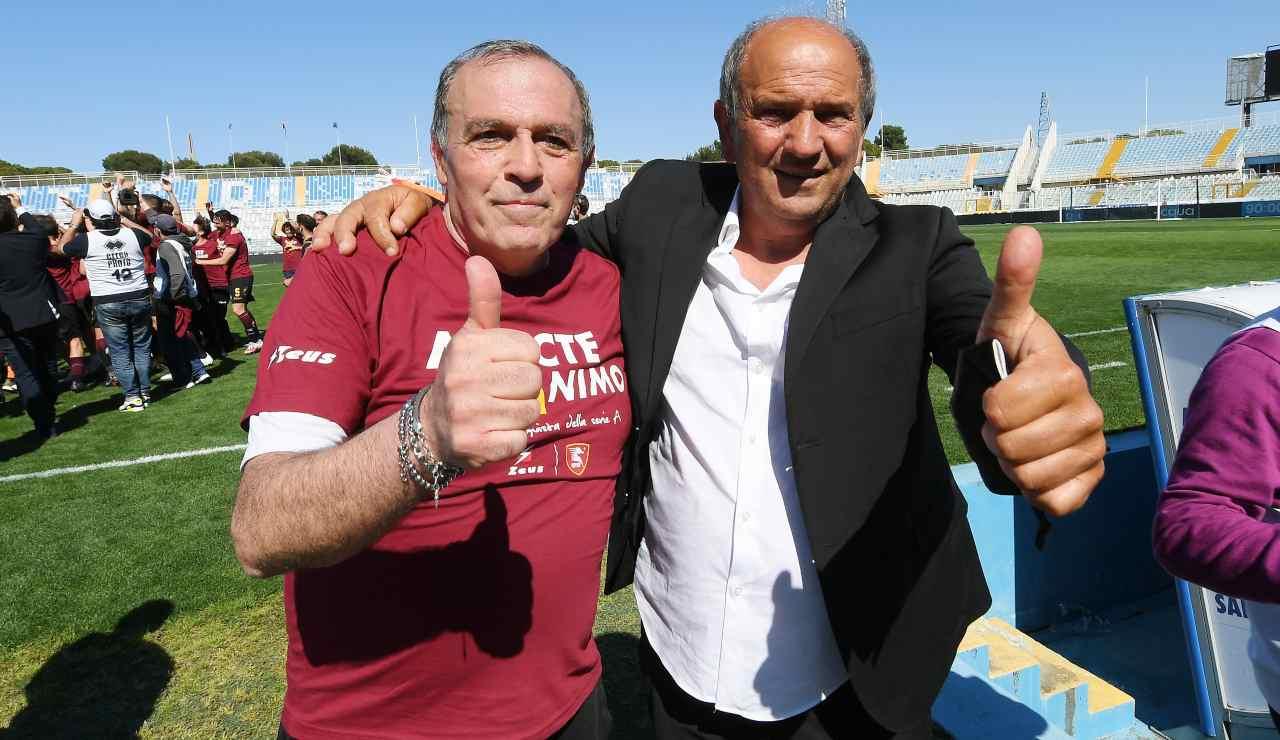 Fabrizio Castori e Angelo Fabiani durante la festa promozione della Salernitana a Pescara