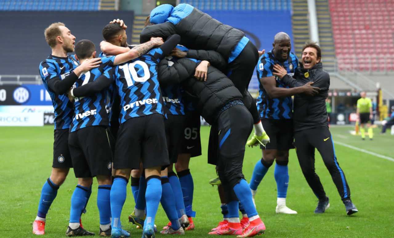 L'esultanza dell'Inter dopo un gol