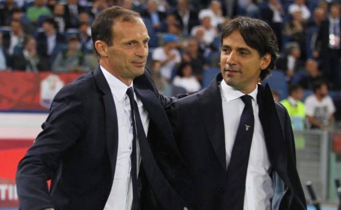 Simone Inzaghi e Allegri durante la Supercoppa italiana 2017