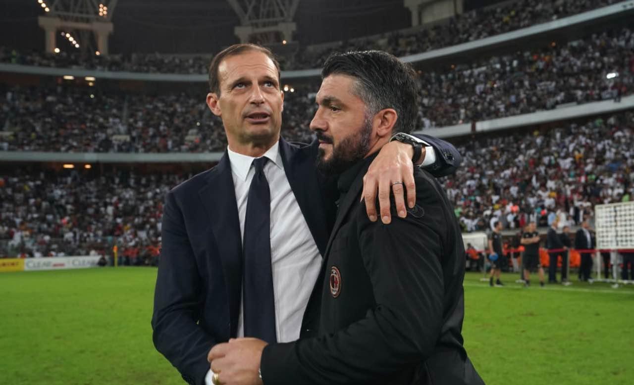 Allegri con Gattuso in Supercoppa