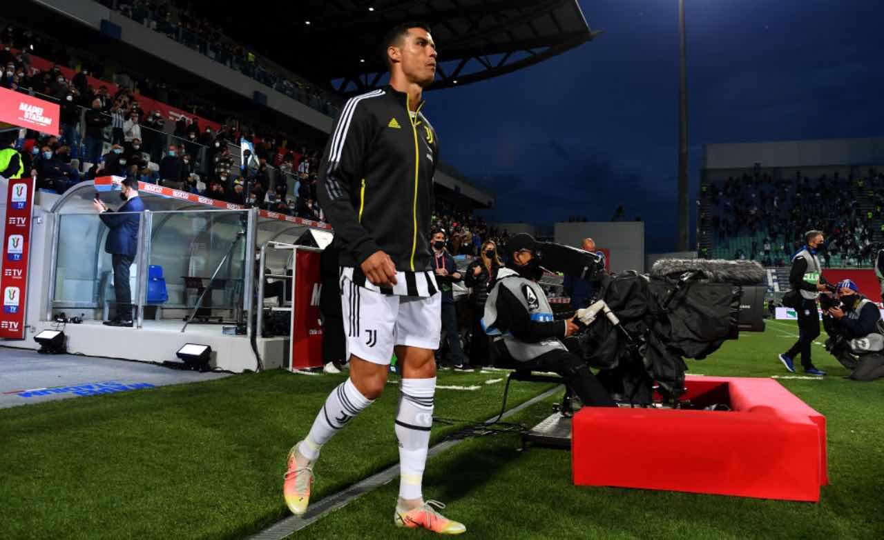 Cristiano Ronaldo nel prepartita di Atalanta-Juventus