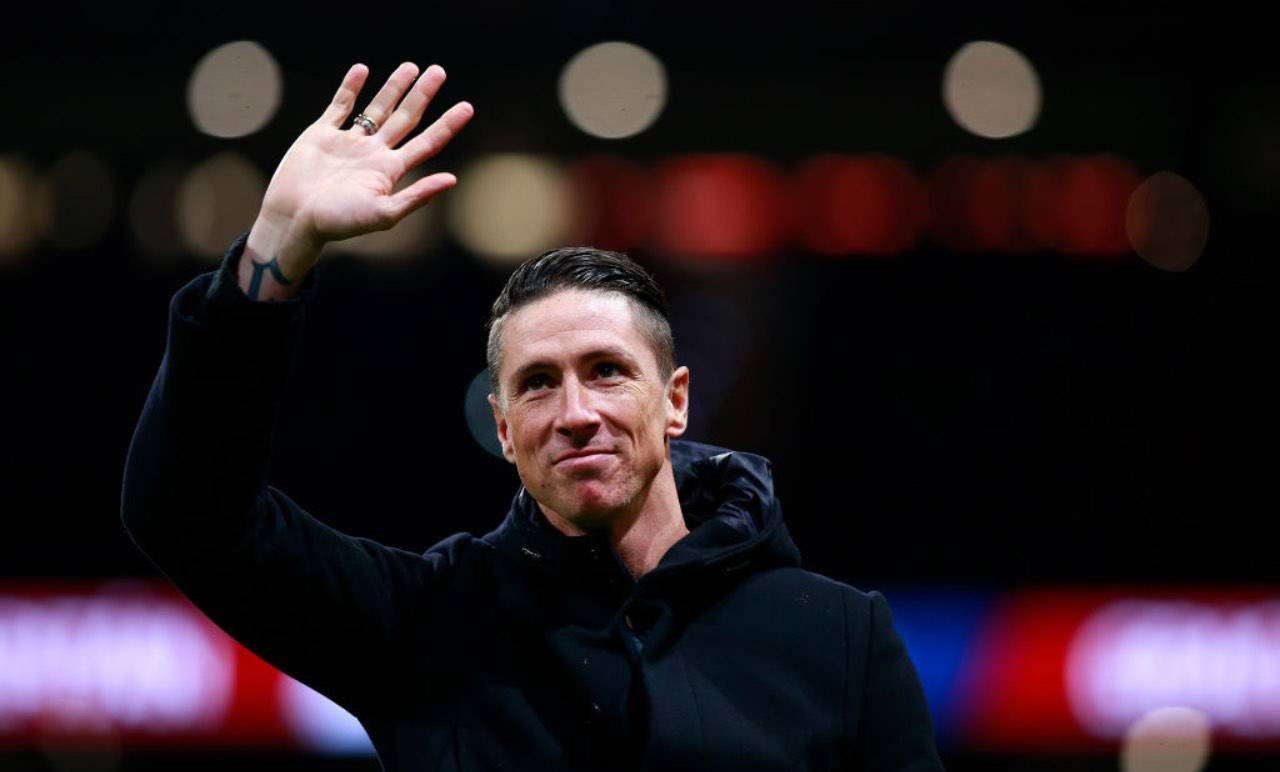 Fernando Torres durante l'addio all'Atletico Madrid