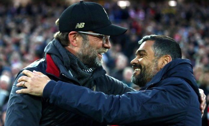 Il saluto tra Klopp e Conceicao in Liverpool-Porto