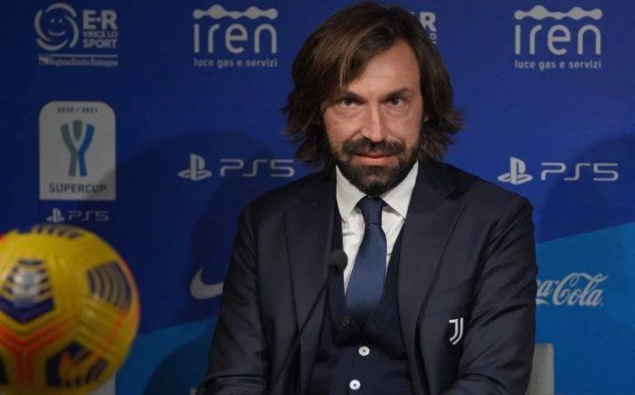 Juventus, Pirlo durante una conferenza stampa