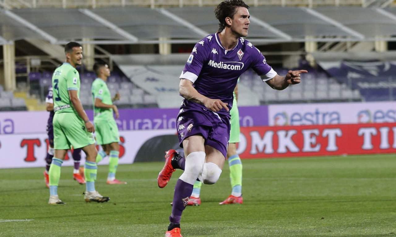 L'esultanza di Vlahovic in Fiorentina-Lazio