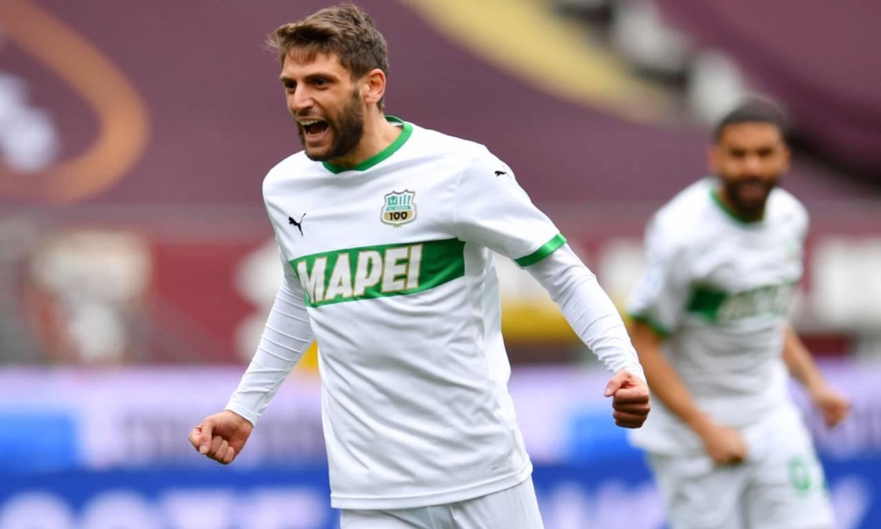 Berardi esulta dopo un gol col Sassuolo