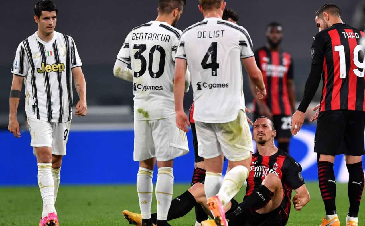Ibrahimovic s'infortuna in Juve-Milan