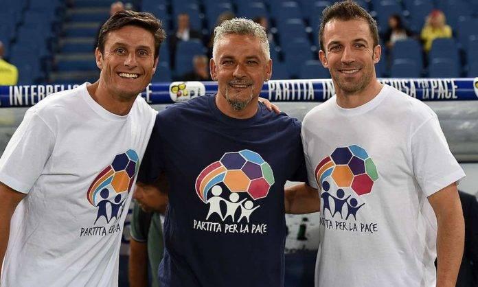 Baggio con Zanetti e Del Piero