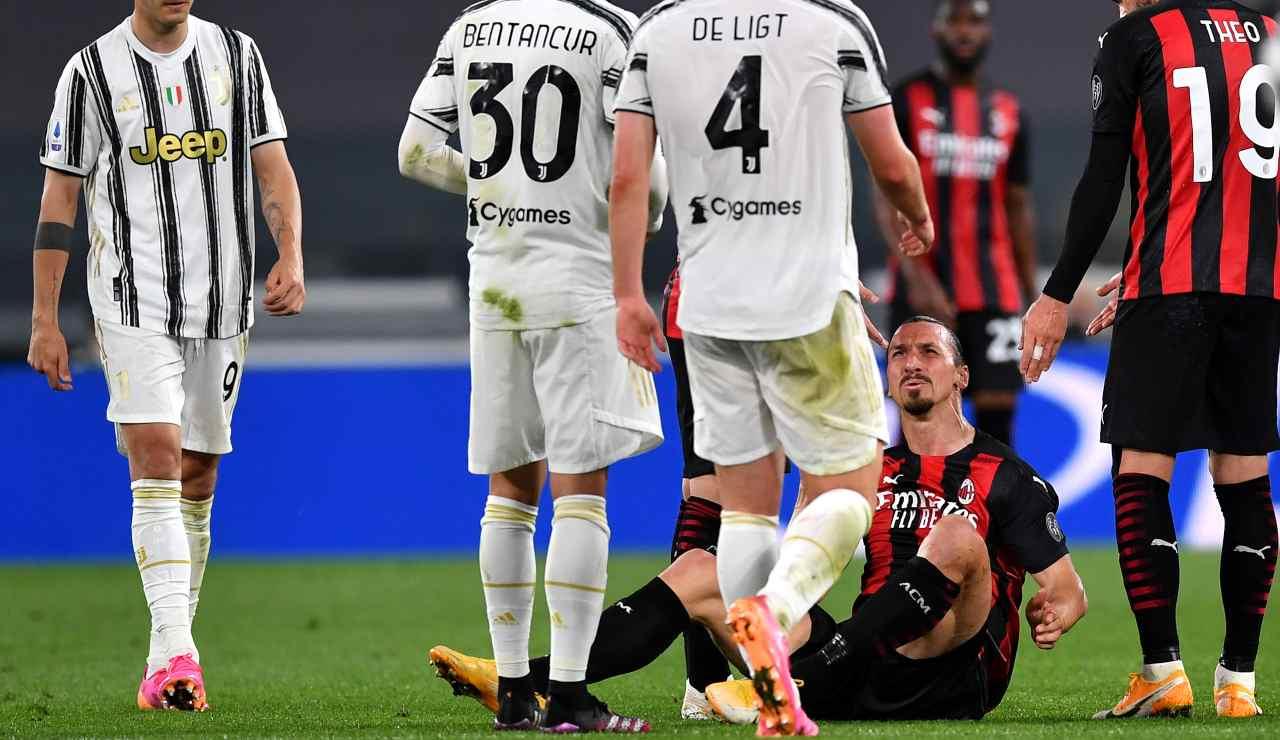 Ibrahimovic al momento dell'infortunio