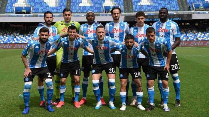 Il Napoli sceso in campo contro il Cagliari